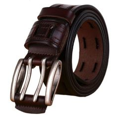 Nidicus Mens Casual Copper Buckle 38mm Smooth Stylish Genuine Leather Belt Black
