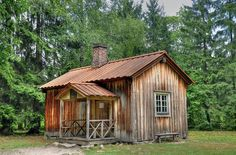 Aleksis Kiven kuolinmökki The grim and poky little shack where novelist and playwright Aleksis Kivi spent his last days. He was the first significant novelist to use the Finnish language and paid the price for trailblazing, dying in poverty. Meanwhile In Finland, Cottage Garden Sheds, Finnish Language, House In Nature, Wooden Houses, Small Buildings, Cabins And Cottages, The Grim, Tree Houses