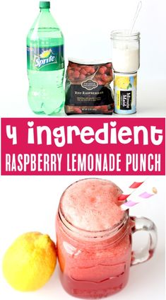 Lemonade Recipe for a Crowd - Easy Raspberry Lemonade Party Punch! Just 4 ingredients and you've got the drink everyone will go CRAZY for! Go grab the recipe and and give it a try!