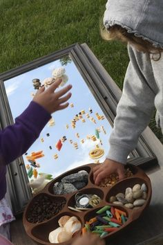 "Sensory Play on a Mirror from happy hooligans ("",) ooo...outside with the clouds in the mirror"