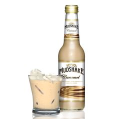 Caramel flavoured Vodka Mudshake - glass & bottle - over ice and ready to drink. Caramel Vodka, Fresh Milk, Pipes, Cigars, Glass Bottles, Liquor, Tasty, Pure Products