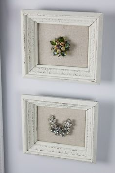 frame grandma's jewelry on a piece of linen; vintage brooch, pin, for glam, glamour, cottage style chic shabby home decor; Upcycle, recycle, salvage, diy, repurpose!  For ideas and goods shop at Estate ReSale & ReDesign, Bonita Springs, FL