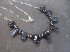 Designer Black Pearl and Grey Agate by SheRocksGemjewellery