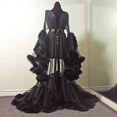 Image of Sheer Black Marabou Dressing Gown (pre-order!)