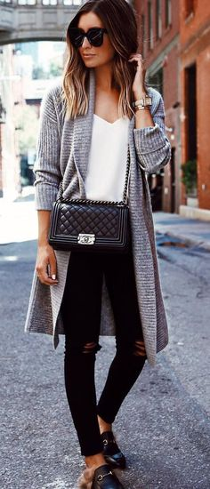 fall casual inspiration / knit cardi + top + bag + rips + loafers