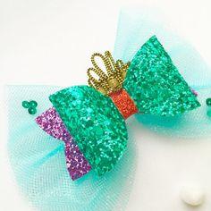 Little mermaid bow hair clip Disney princess by Bellainspirationd
