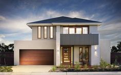 Photo of a house exterior design from a real Australian home - House Facade photo Browse hundreds of facade designs from Australian homes on Home Ideas. Modern House Facades, Modern House Design, House Balcony Design, Facade Design, Exterior Design, Rendered Houses, Two Storey House, Dream House Exterior, Australian Homes