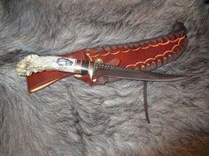 """Fillet Knife Ken Richardson  CUSTOM MADE CROWN HORN Cocobolo & Brass 7.5 """"…"""