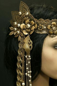 Bronze filigree delicate headband tiara tribal belly dance steampunk LARP of Medieval Renaissance Pearl gold lace lace Tribal Fusion, Look Gatsby, Dress Dior, Estilo Tribal, Renaissance, Steampunk, Tribal Hair, Tribal Costume, Dance Accessories