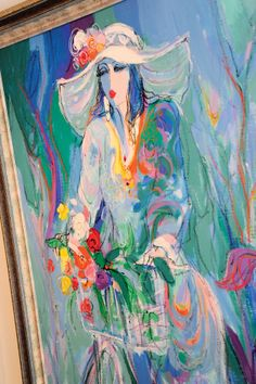 A painting by Isaac Maimon - love flowing lines and cool blues this artists uses