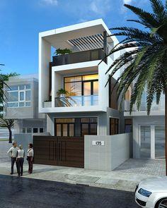 Street house of Mr. 3 Storey House Design, House Front Design, Small House Design, Modern House Design, Two Storey House, Narrow House Designs, Narrow Lot House Plans, Modern House Facades, Modern Architecture House