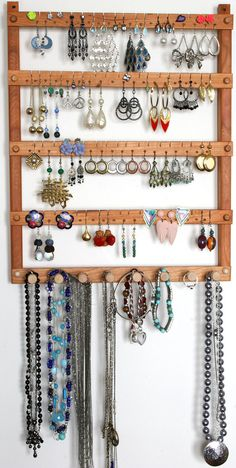 Earring Holder / Jewelry Holder, Cherry, Wood, Wall Mount with Necklace Holder. Holde 72 pairs of Earrings, plus 8 pegs. Jewelry Organizer Earring Holder / Jewelry Holder Cherry Wood by TomsEarringHolders Wand Organizer, Wall Mount Jewelry Organizer, Diy Jewelry Holder, Necklace Holder, Homemade Jewelry Holder, Diy Earring Holder, Jewelry Box, Stud Earring Organizer, Jewelry Tree