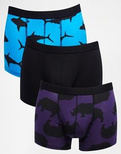 ASOS 3 Pack Trunks With Animal Silhouette Design