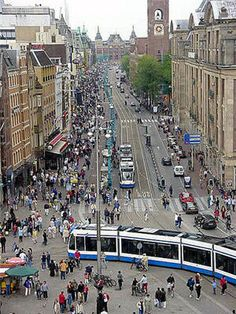 Amsterdam - The street that leads to the train station is known as the Damrak.