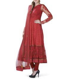 Red Net & Georgette Anarkali Suit