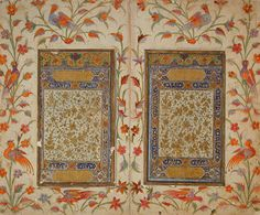 Double-Page Illuminated Frontispiece of a Manuscript India, Andhra Pradesh, Golconda, circa 1630 Manuscripts Opaque watercolor, gold, and ink on paper Image: 6 1/2 x 3 5/8 in. (16.51 x 9.21 cm) approximately; Sheet: 10 1/8 x 6 1/16 in. (25.72 x 15.4 cm) Gift of Dr. and Mrs. Pratapaditya Pal (M.83.255.2) South and Southeast Asian Art