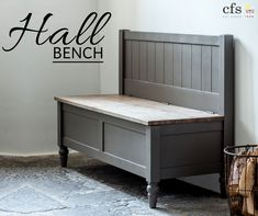 The Cookham Hall Bench is a stunning farmhouse style monks bench that will look fabulous in any hallway. Painted in a mid grey colour with brown undertones. Hall Bench With Storage, Wooden Storage Bench, Storage Bench Seating, Hallway Storage, Storage Trunk, Shoe Storage Bench Uk, Wooden Benches, Crate Storage, Grey Furniture