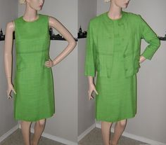 Green 60s Suit Sixties Dress Jacket 2 PC Kelly Lime Green Dress Spring 2 Piece Vintage Linen Suit Mad Men Formal Mid Century Outfit Like New
