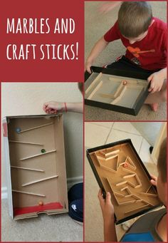 Build a marble run or marble maze with shoe box and craft sticks. Simple materials and sturdy construction make it a WIN for a wide variety of ages. http://hative.com/diy-ideas-with-recycled-shoe-box/