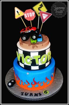 Monster Truck cake made for Victor's Birthday :) Monster Jam Cake, Monster Truck Birthday Cake, Birthday Cake Girls, 3rd Birthday, Birthday Ideas, Truck Cakes, Fondant, Crazy Cakes, Cute Cakes