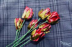 Rosebuds made of ribbons.