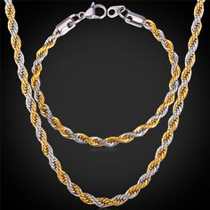 Find More Jewelry Sets Information about 316L Stainless Steel Bracelet Necklace Set Singapore Rope Chains Trendy 5MM Thick Gold Plated Men Jewelry Set GNH1152,High Quality necklace set,China bracelet necklace set Suppliers, Cheap men jewelry set from Magic Cube Jewelry (Quality Items) on Aliexpress.com