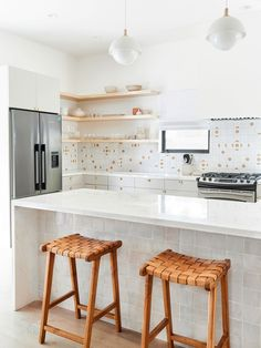 Painting These 2000s Cabinets Made Room in the Budget for Lively Tile