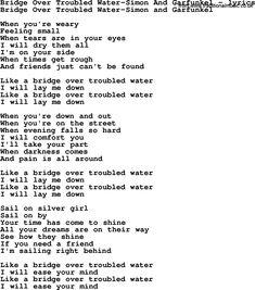 bridge over troubled water lyrics | Love Lyrics for:Bridge Over Troubled Water-Simon And Garfunkel(with ...