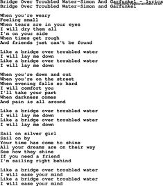 bridge over troubled water lyrics | Love Lyrics for:Bridge Over Troubled Water-Simon And Garfunkel(with ...