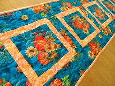 Modern fall table runner teal and orange autumn by SusansPassion