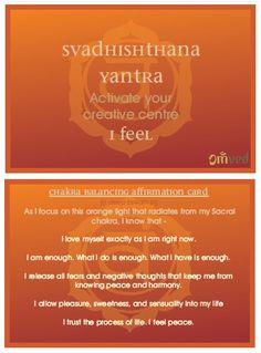Chakra Balancing Affirmation Card - Sacral Chakra – Svadhishthana for Sensuality & Balance