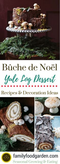 Yule Log Cake Recipes (Bûche de Noël) 2020 - - Yule log cake, also called Bûche de Noël, and it's a wonderful holiday Christmas dessert. Meringue mushrooms add to this rolled up cake with ganache. Chocolate Yule Log Recipe, Chocolate Log, Chocolate Roll Cake, Holiday Cakes, Christmas Desserts, Christmas Baking, Christmas Cakes, Betty Crocker, Mary Berry Yule Log