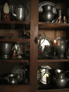 Beautiful cupboard with pewter#Repin By:Pinterest++ for iPad#