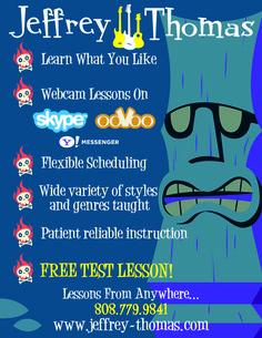 Free Guitar Bass Ukulele Lesson on Skype!! www.jeffrey-thomas.com