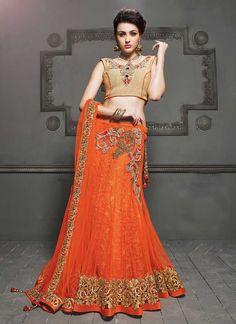 Adorable Orange Net Lehenga Choli, Product Code :9662, shop now http://www.sareesaga.com/adorable-orange-net-lehenga-choli-9662  Email :support@sareesaga.com What's App or Call : +91-9825192886