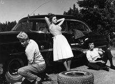 Tire replacement during a camping trip Finland 1955 History Photos, Love Affair, Finland, Good Times, Hot Rods, Cool Kids, Camping, Cars, Film