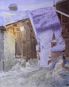 Aquarelle originale, peinture de paysage de montagne, la grand'rue au crépuscule