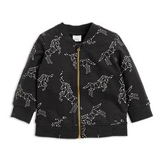 A soft, cosy bomber jacket with a fine starry motifs.