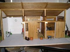 My Miniature Menagerie: Scale Modern Barn - Pt. Toy Horse Stable, Schleich Horses Stable, Horse Stalls, Horse Barns, Miniature Horse Barn, Small Barn Plans, Barn Wood Crafts, Horse Crafts, Horse Barn Plans