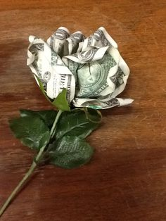 Money roses. This rose is made with five $1 bills. I learned to make these from....you guessed it.....Pinterest!!!!
