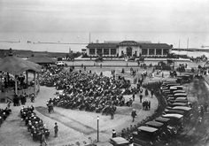 1920: View looking past a bandshell to Deans' Sunnyside Pleasure Boats, Lakeshore Blvd.. Although the business was successful, the building was eventually sold, has been the Palais Royale Ballroom ever since. - Courtesy of the Toronto Public Library.