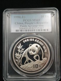 1990 1oz .999 Fine Silver Chinese Panda Large Date PCGS MS69  - Pop 303