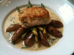 #Crab crusted fluke with #asparagus and #potatoes from Atlantic Grill