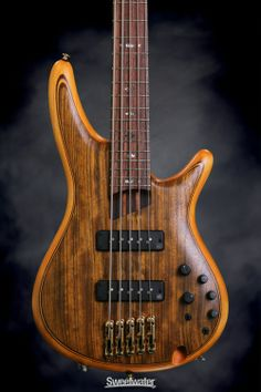 Lovely wood grain staining on this 5-string electric Bass Guitar with Mahogany Body. Ovangkol Top, Wenge / Bubinga Neck, Rosewood Fingerboard, and 2 Single-coil Pickups - Vintage Natural Flat. Ibanez SR1205E. -DdO:) - http://www.pinterest.com/DianaDeeOsborne/instruments-for-joy/ - I don't buy any brand exc Ibanez for bass... love the action for slides. But will play any bass put in my hands!