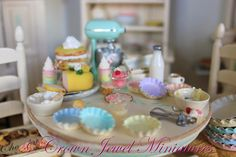 Shabby kitchen on bake day by Crown Jewel Miniatures