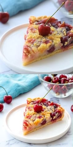 An easy recipe for a Cherry Pie! This Cherry Crumb Pie has it all! It is made with sweet fresh cherries, a creamy filling, and a buttery crumble! This pie is also egg free and makes a perfect summer dessert! Best Cherry Pie Recipe, Sweet Cherry Recipes, Cherry Desserts, Easy Desserts, Delicious Desserts, Recipes With Fresh Cherries, Cherry Pie Filling Desserts, Egg Free Desserts, Sweet Cherries