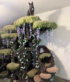 """unicornempire: """" catsbeaversandducks: """" Wolfie the Werecat and his wonderful Enchanted Forest Kitty Sanctuary. Photos by Wolfie Cat Tree made by Hollywood Kitty Company """" I feel like I'm going to go. Cool Cat Trees, Diy Cat Tree, Cool Cats, Crazy Cat Lady, Crazy Cats, Animals And Pets, Cute Animals, Easy Animals, Cat Room"""