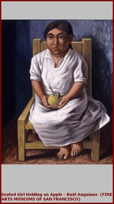 Untitled (Seated Girl Holding an Apple) by Raúl Anguiano A work from the collections of the de Young and Legion of Honor museums of San Francisco, CA. Diego Rivera, Paul Cezanne, Photography Illustration, Illustration Art, Illustrations, Museum Of Fine Arts, Art Museum, Raul Anguiano, Famous Hispanics