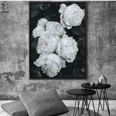 White Roses Black and White Canvas Print Oil Painting Rouse the Room Cheap Artwork, Modern Artwork, Canvas Artwork, Canvas Prints, Painting Canvas, Black And White Canvas, Black And White Painting, Floral Artwork, Floral Paintings