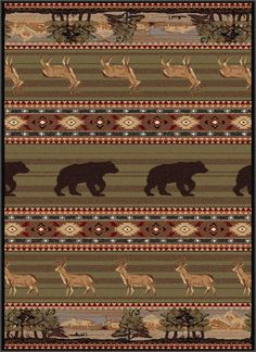 Tayse Nature Expedition Wildlife Area Rug